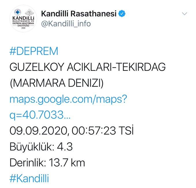 Marmara Denizi'nde 4.1 büyüklüğünde deprem meydana geldi.